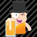beer, drink, emoji, emoticon, monk, smiley, sticker icon
