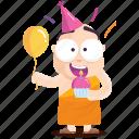 birthday, celebration, emoji, emoticon, monk, smiley, sticker icon