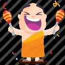 celebration, emoji, emoticon, monk, smiley, sticker icon