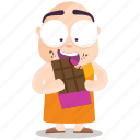 chocolate, emoji, emoticon, monk, smiley, sticker icon