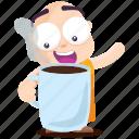 coffee, emoji, emoticon, monk, smiley, sticker icon