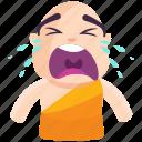 cry, emoji, emoticon, monk, smiley, sticker icon