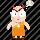 devil, emoji, emoticon, evil, monk, smiley, sticker icon