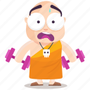 emoji, emoticon, gym, monk, smiley, sticker, workout icon