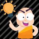 emoji, emoticon, idea, monk, smiley, sticker icon