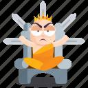 emoji, emoticon, iron, monk, smiley, sticker, throne icon