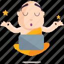 emoji, emoticon, meditate, monk, smiley, sticker icon