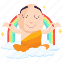 emoji, emoticon, meditation, monk, smiley, sticker icon