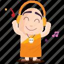 emoji, emoticon, monk, music, smiley, sticker icon