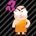 emoji, emoticon, monk, question, smiley, sticker, wonder icon