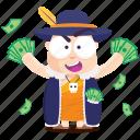 emoji, emoticon, money, monk, rich, smiley, sticker icon