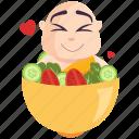 emoji, emoticon, monk, salad, smiley, sticker icon