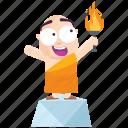 emoji, emoticon, goal, monk, smiley, sticker, torch icon