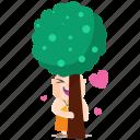 emoji, emoticon, hugger, monk, smiley, sticker, tree icon