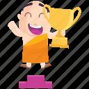 emoji, emoticon, monk, smiley, sticker, trophy, winner icon