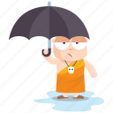 emoji, emoticon, monk, smiley, sticker, umbrella icon