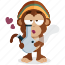 bong, emoji, emoticon, monkey, smoker, sticker