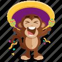 monkey, celebration, emoticon, emoji, sticker icon
