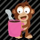beverage, coffee, drink, emoji, emoticon, monkey, sticker icon