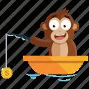 emoji, emoticon, fishing, monkey, sticker icon