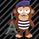 emoji, emoticon, france, french, monkey, sticker icon
