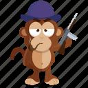 emoji, emoticon, gangster, mafia, monkey, sticker icon