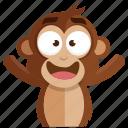 emoji, emoticon, happiness, happy, monkey, sticker icon