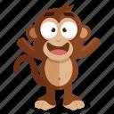 emoji, emoticon, happy, monkey, smiley, sticker icon