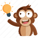 idea, emoji, thought, monkey, emoticon, sticker icon