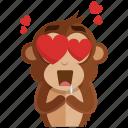 emoji, emoticon, heart, love, monkey, romance, sticker icon