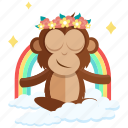 emoji, monkey, emoticon, peace, sticker, inner, meditation icon