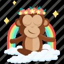 emoji, emoticon, inner, meditation, monkey, peace, sticker