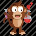 chemistry, emoji, emoticon, love, monkey, sticker icon