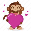 emoji, emoticon, heart, love, monkey, sticker icon