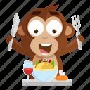 emoji, emoticon, food, meal, monkey, sticker icon