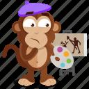 emoji, emoticon, monkey, painter, sticker icon
