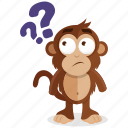 emoji, monkey, emoticon, question, thinking, sticker, wonder icon