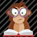 emoji, emoticon, learn, monkey, read, sticker icon