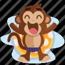 chill, emoji, emoticon, monkey, pool, relax, sticker icon