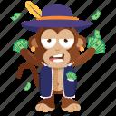 emoji, emoticon, monkey, rich, sticker icon