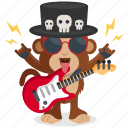 emoji, rocker, monkey, guitar, emoticon, sticker icon