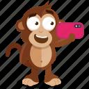 emoji, emoticon, monkey, selfie, sticker icon