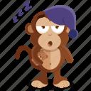 emoji, emoticon, monkey, sleepy, sticker, tired icon
