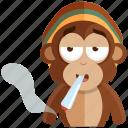 emoji, emoticon, monkey, smoker, sticker icon