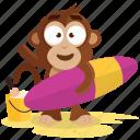 beach, emoji, emoticon, monkey, sticker, surf icon
