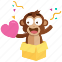 emoji, emoticon, love, monkey, romance, sticker, surprise icon
