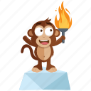 emoji, emoticon, goal, monkey, sticker, torch icon