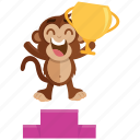 emoji, emoticon, monkey, sticker, trophy, winner icon