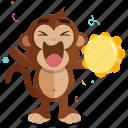 celebrate, emoji, emoticon, monkey, music, sticker, trumbone icon