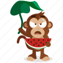 emoji, emoticon, monkey, sticker, watermelon icon